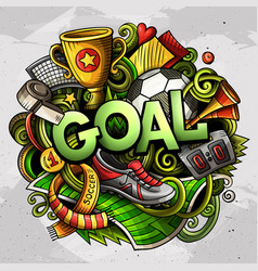 Cartoon cute doodles goal word colorful vector