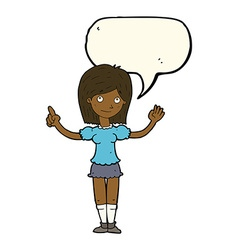 Cartoon woman explaining idea with speech bubble vector