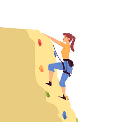 Cartoon woman rock climbing on yellow boulder vector