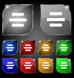 Center alignment icon sign Set of ten colorful vector