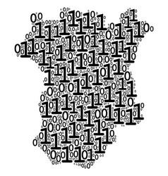 Chechnya map mosaic of binary digits vector