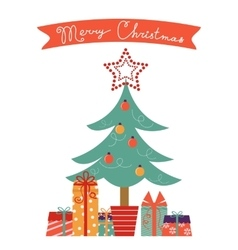 Christmas card with Christmas tree and gifts vector image