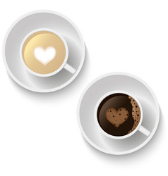 Coffee cups with hears form vector