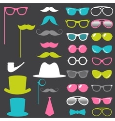 Colorful retro gentleman elements set vector