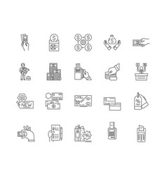 Cost line icons signs set outline vector