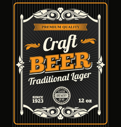 craft beer premium quality poster vector image