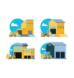 delivery service with warehouse buildings vector image
