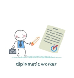 Diplomatic worker writes the document vector