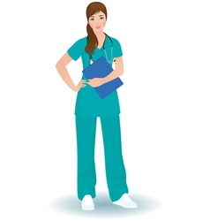 Doctor woman in a full length on a white backgroun vector image