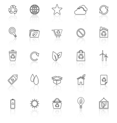 Ecology line icons with reflect on white vector image