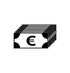 Euro banknote simple black icon vector