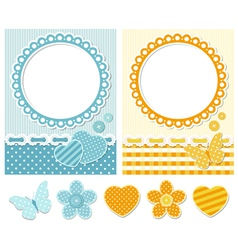 Fabric scrapbook set vector image
