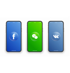 Facebook wechat vk logo on iphone screen vector