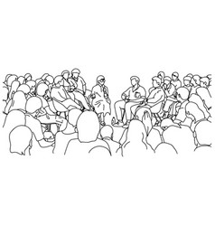 female teacher and students in lecture hall vector image