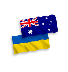 flags ukraine and australia on a white vector image