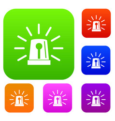 flashing emergency light set collection vector image