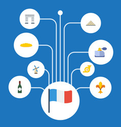 Flat icons trombone ornament flag and other vector
