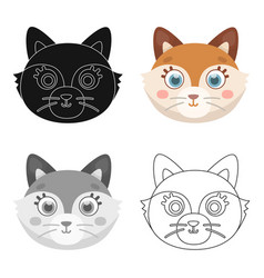 fox muzzle icon in cartoon style isolated on white vector image