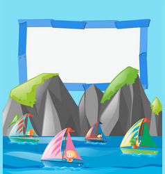 Frame template with kids on boats vector