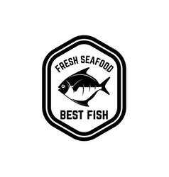 Fresh seafood emblem template with fish design vector