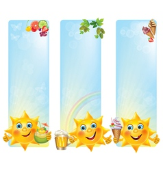 Funny sun with cool desserts and drinks vertical vector