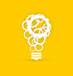 gears light bulb creative technology concept on vector image
