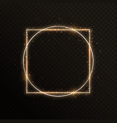 gold frame with a circle and a square vector image