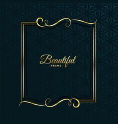 golden floral attractive frame design vector image