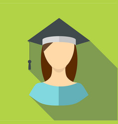 graduate woman icon flat style vector image
