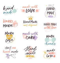 Handmade hand made craft label typography vector