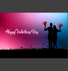 happy valentines day lettering on colorful vector image