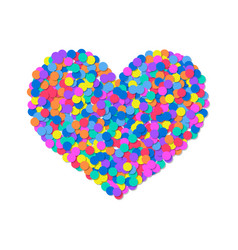 heart of colored confetti romantic flat object vector image