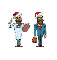 hipster christmas doctor and businessman vector image