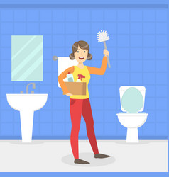 Housewife cleaning bathroom and toilet with brush vector