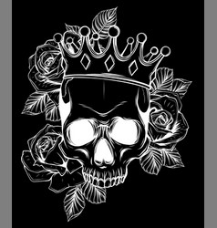 Human death skull in crown vector