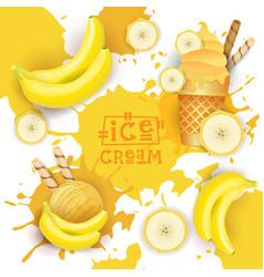 Ice cream with banana taste dessert colorful vector