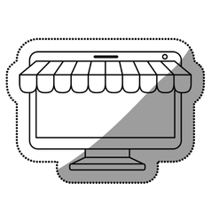 Isolated computer and ecommerce design vector