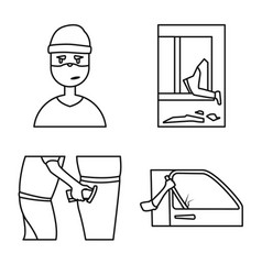 Isolated object thug and robbery icon vector