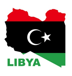 Libyan Republic flag on map vector image