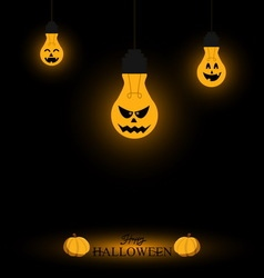 Light bulb halloween background vector image
