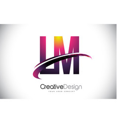 Lm l m purple letter logo with swoosh design vector