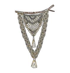 Macrame boho style wall hanger symbol textile vector