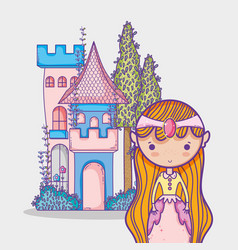 Magic world little princess hand drawing cartoon vector