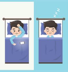 Man cant sleep and makes him sleep vector