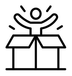 Man from gift box icon outline style vector