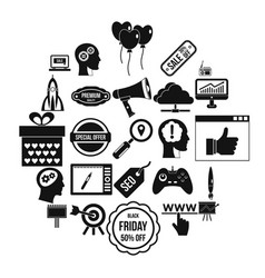 media center icons set simple style vector image