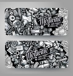 medicine hand drawn doodle banners design vector image