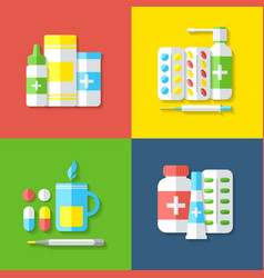 Medicines isolated objects vector