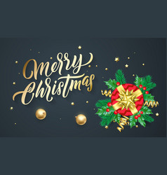merry christmas calligraphy lettering xmas gifts vector image