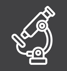 Microscope line icon education and science vector